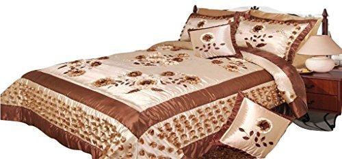 DaDa Bedding BM805 Schmusetuch Wiese of Flower Polyester Patchwork 5-teilig Landhausstil King cremefarben (Bedding Croscill King)