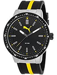 PUMA Roadmap Men's Quartz Watch with Black Dial Analogue Display and Black Silicone Strap PU104131002