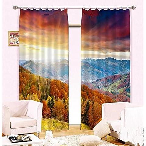 Autunno tramonto un caldo UV-camera da letto tende della finestra