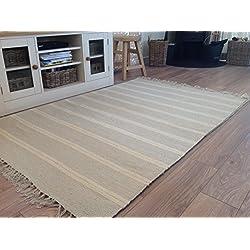 Alfombra a rayas dobles de algodón natural y yute, color gris y blanco, 90cm x 150cm