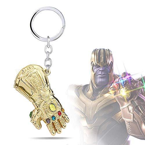 AOLVO Personalisierter Neuheit Schlüsselanhänger Marvel Studios Infinity War Unendlichkeit Handschuh Thanos Schlüsselanhänger Gold