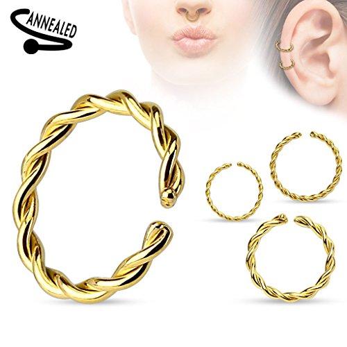 Piercing anneau en acier chirurgical 316L Taille: 1.6 mm x 10 mm Couleur: Or