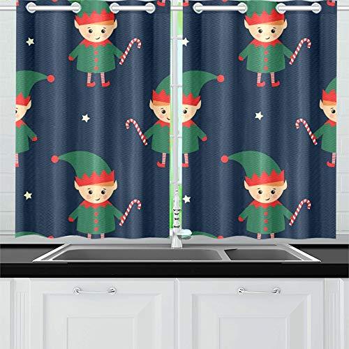 JOCHUAN Weihnachtself Candy Cane Küche Vorhänge Fenster Vorhang Stufen für Café, Bad, Wäscherei, Wohnzimmer Schlafzimmer 26 X 39 Zoll 2 Stück