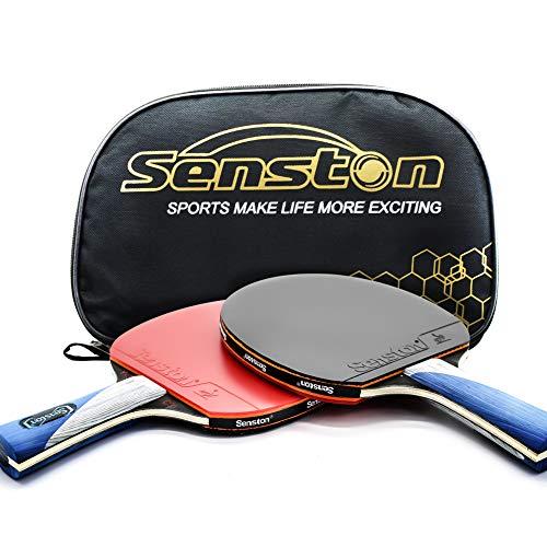 Senston ITTF Tisch Tennisschläger Schläger-Set, Pingpong Paddel mit 2Schlägern (, die Hände schütteln Griff), Grün