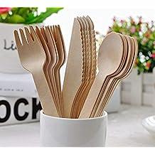 Set de 150 piezas de cubiertos desechables de madera – 50 tenedores, 50 cuchillos y 50 cucharas vajilla biodegradable ecológico 100 % de utensilios planos ...
