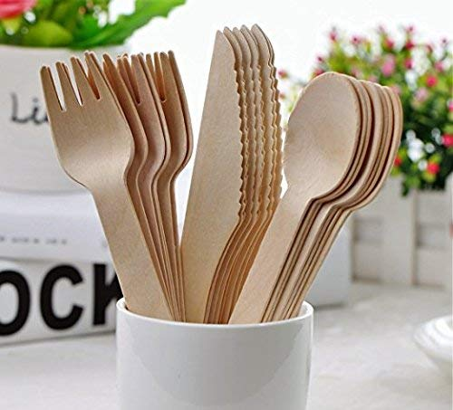 Furbsihland jetables en bois Couverts Lot de 150–Fourchettes (50), couteaux (50) et cuillères (50), Alternative parfaite pour plastique respectueux de l'environnement, biodégradable Ustensiles