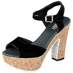 Shoot Shoes SH-160171VV Damen Sommer Plateau Sandale Leder black (37, black)