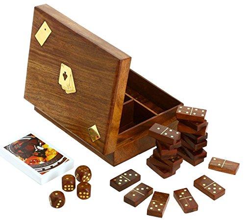 Preisvergleich Produktbild Shalinindia, hölzerne Domino Würfel und Spielkarten, 3 in 1 Box, 17 cm