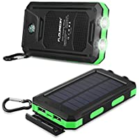 FLOUREON 10,000mAh Solar Charger Power Bank Portable Solar Powered Phone Charger with Dual LED Flashlight External Battery Charger with Dual 1.0A/2.1A for Smart Phone, Tablet and More (Green)