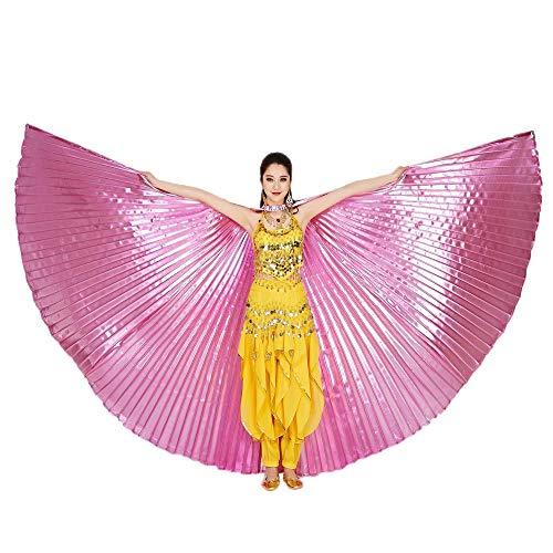 Chejarity Bauchtänzerin Isis Flügel Einfarbig Orientalischen Tanz Dance Fairy Schmetterlings Wings Multi Color Halloween Cosplay Cosplay Kostüm 360 Grad Bühnenauftritte Zubehör (142CM, Rosa)