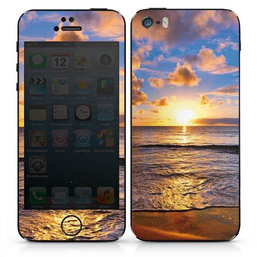 Apple iPhone SE Case Skin Sticker aus Vinyl-Folie Aufkleber Sonnenuntergang Meer Wolken DesignSkins® glänzend