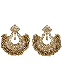 MUCH MORE 18K Gold Plated South Polki Dangle & Drop Earrings For Women