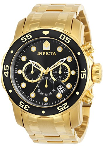 £117.29 Best Invicta Men's Chronograph Quarz Watch with Gold Plated Strap 72