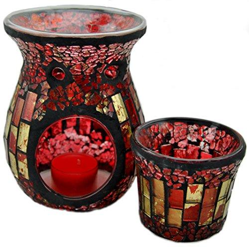 Davartis - Duftlampe Mosaik rot/gold inkl. Teelichthalter / Windlicht -