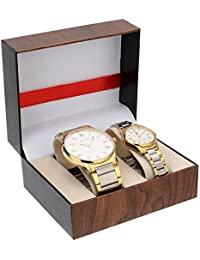 Swiss Trend Classy Analog Steel Gold Men's and Women's Couple Watch