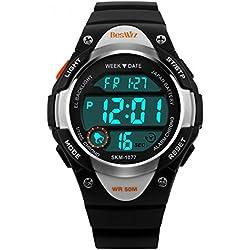 BesWLZ Sports Kids Backlight LED Digital Alarm Stopwatch Waterproof Wristwatch Children's Watches Black