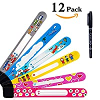 DireeKids Child ID Bands 12 Pack Never Fade ID Wristband for Kids Safety Wristband Name Wrist Bands for Labeling with a Special Pen