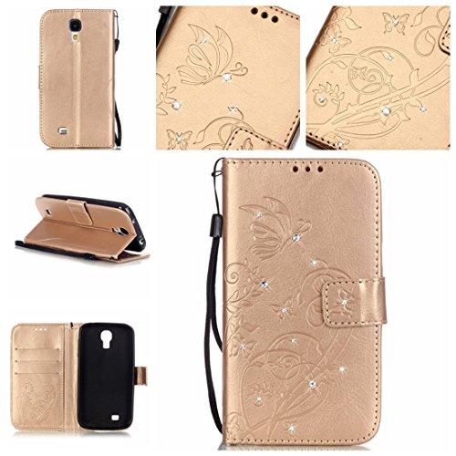 Nancen Samsung Galaxy S4 / GT-i9500 (5 pouces) coque , PU Cuir Portefeuille Etui Housse Case Cover , carte de crédit Fentes pour , L'utilisation de la technologie de pointe , gaufrage , cristal de diamant - Fleur - Butterfly , idéal pour protéger votre téléphone ,