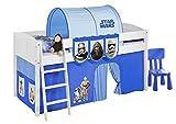 Lilokids Spielbett IDA 4106 Star Wars Blau - Teilbares Systemhochbett weiß - mit Vorhang