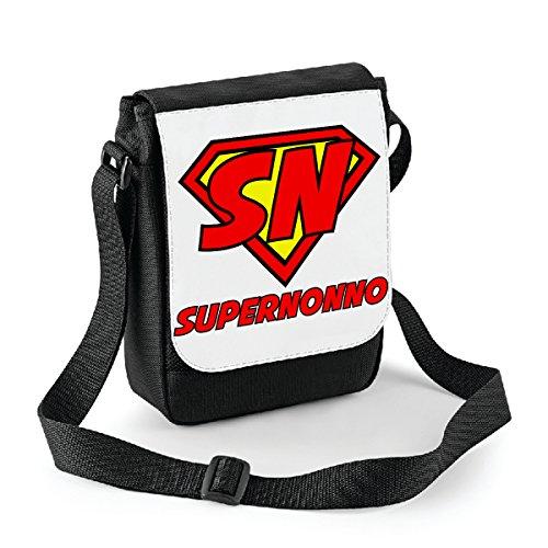 Mini borsa a tracolla Super Nonno - humor - idea regalo -tracolla regolabile - misura 18x22 cm Bianco