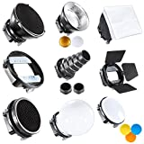 Neewer Kit di Accessori per Speedlite Flash Include Barndoor/Conico Snoot/Riflettore/Sfera Diffusore/Beaty Disc/8'x12'/20x30cm Softbox/Nido d'ape/Filtri/Adattatore Universale di Supporto