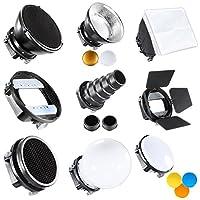 Kit de Strobist universelle avec de nombreux accessoires à expérimenter avec la lumière!Vous pouvez connecter les accessoires à votre appareil photo avec flash à l'aide de l'adaptateur universel fourni.Vous pouvez utiliser ce kit avec tous les flashs...