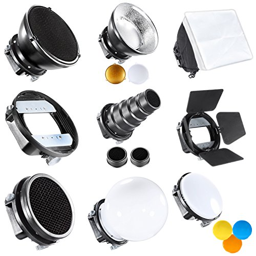 Neewer Pro Speedlite Blitz Zubehör-Kit mit Barndoor Konische Snoot Mini-Reflektor Kugel Diffusor Beaty Disc 20x30 cm Softbox Bienenwabe Farbfilter...