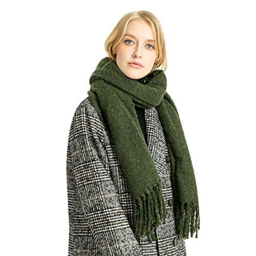 OverDose Frauen Winter Elegantes Nachahmung Kaschmir Solide Quaste Schal Wrap Schals Tücher Halstuch winterschal Schlauchschal,A-Army Green