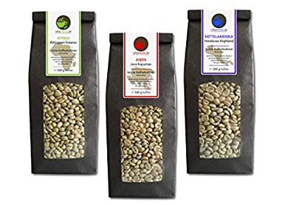 Green Coffee Beans Ethiopia, Java, Honduras (highland raw coffee beans, 3x500g value pack) from Rohebohnen