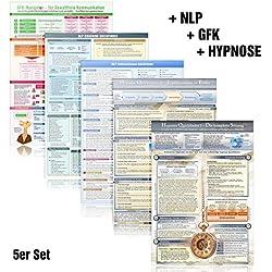 [5er-Set] Das NLP & GFK & Hypnose Lern- und Wissenskartenset (2018): - GFK Navigator für Gewaltfreie Kommunikation + NLP Coaching + 33 NLP ... und Techniken (DINA4, laminiert)