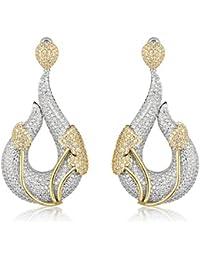 Shaze Silver Copper Dual Toned Drop Earrings for Women