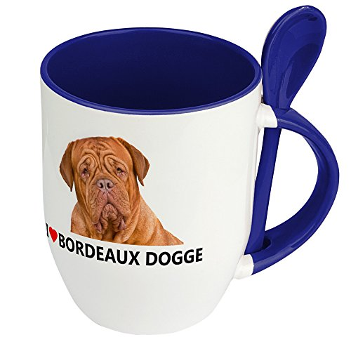 Hundetasse Bordeaux Dogge - Löffel-Tasse mit Hundebild Bordeaux Dogge - Becher, Kaffeetasse, Kaffeebecher, Mug - Blau (Blaue Dogge-tassen)