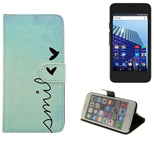 K-S-Trade® für Archos Access 45 4G Wallet Case Schutz Hülle Flip Cover Tasche ''Smile'', türkis