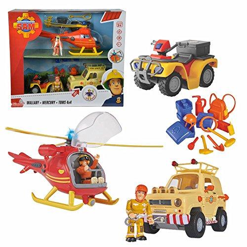 feuerwehrmann sam gelaendewagen Feuerwehrmann Sam - 3-teiliges Fahrzeug Set Wallaby Geländewagen Mercury
