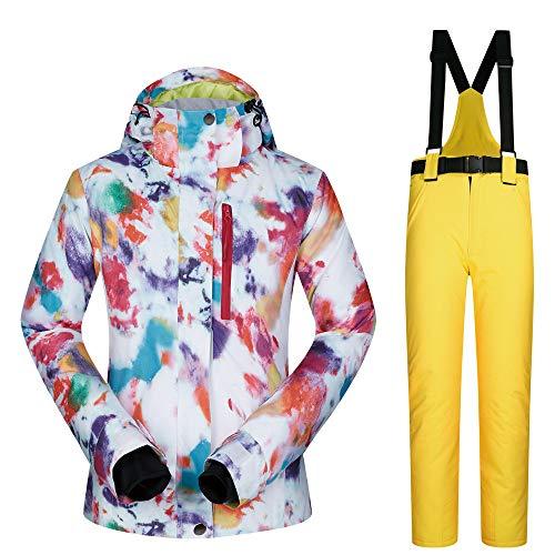 Liergou-Clothing Traje de esquí para Deportes al Aire Libre, Traje para Mujer, Traje para la Nieve, Ropa de Uso cálido y Transpirable, Chaqueta para Traje de esquí para Mujer (Color : C4, tamaño : L)