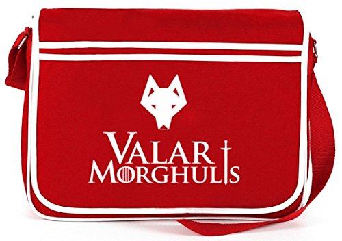 Shirtstreet24, Valar Moghulis Wolf, Retro Messenger Bag Kuriertasche Umhängetasche Rot