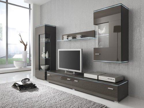 Wohnwand Anbauwand grau lavagrau, Fronten hochglanz, optional LED-Beleuchtung, Beleuchtung:ohne Beleuchtung