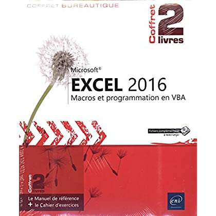 Excel 2016 - Coffret de 2 livres - Le Manuel de référence + le Cahier d'exercices sur les macros et la programmation VBA