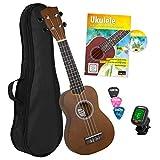 CASCHA Sopran Ukulele Set, kleine Hawaii Gitarre für Kinder & Erwachsene mit Lehrbuch, Stimmgerät, Tasche und 3 Plektren