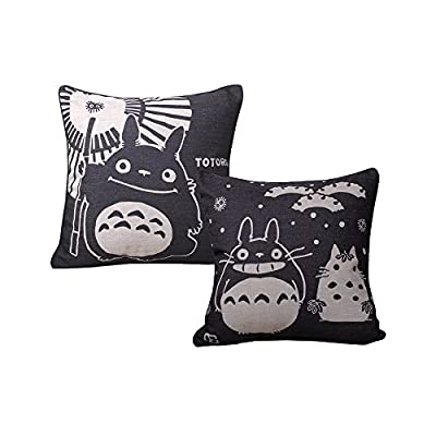 Elviros Linen Cotton Blend Decorative Cushion Cover Throw Pillow Case 18x18 inch - Totoro [Set of 2] - low-cost UK light store.