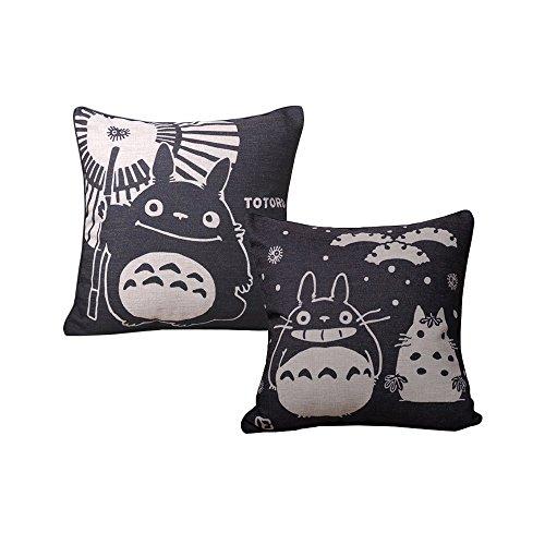 Elviros Cotone Misto Lino Decorativo Fodera per Cuscino 45x45cm [18x18'' pollici] Confezione da 2 - Totoro