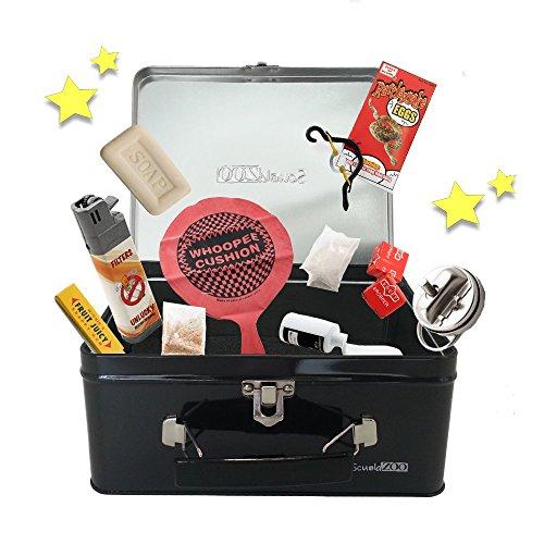 Valigetta scherzi carnevale scuolazoo set completo 10 gadget - prank pack