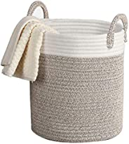 Cotton Rope Basket – 33x38cm Decorative Woven Basket for Laundry, Baby, Blanket, Towels, Home Storage Containe