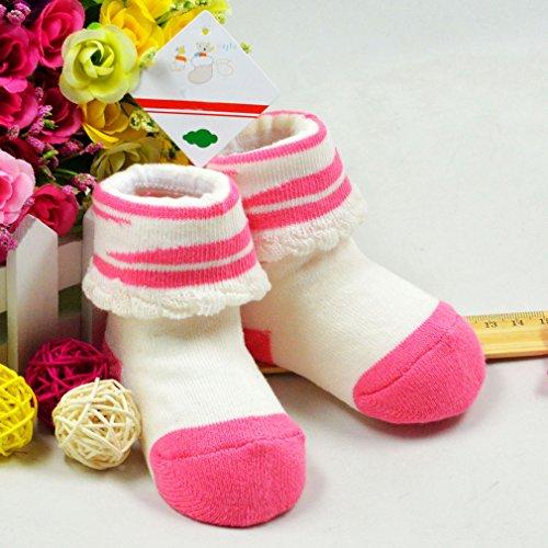 Bigood Chaussons Bébé Coton Chaussures Chausettes Chaud Hiver Souple Chic Blanc Rose