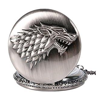 Game-of-Thrones-Stark-Silber-Taschenuhr-Hat-der-Eiserne-Trone-Got