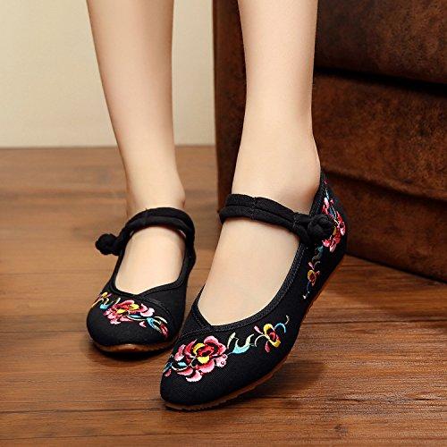 &QQ Chaussures brodées, lin, semelle de tendon, style ethnique, chaussures féminines, mode, confortable Black