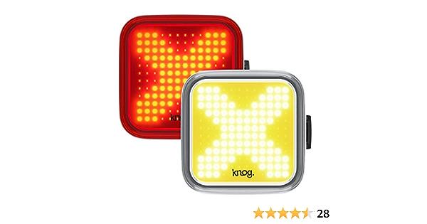 taglia unica Kit di illuminazione anteriore e posteriore Knog Blinder Twinpack Square colore: Nero unisex