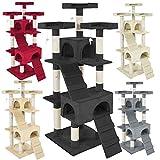 TecTake Rascador Árbol para gatos Sisal - disponible en diferentes colores - (Negro | No. 400929)