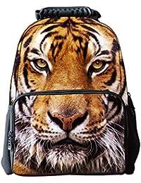 512ef818d6 LAWLAI Zaino Bambini 3D Tigre Testa Borsa Scuola Outdoor Travel Personalità  Borse Multifunzione