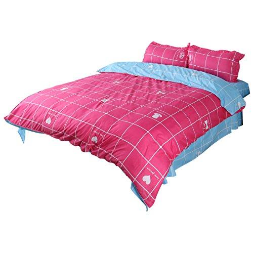 Baumwolle Queen-size-blatt-sets (sourcingmap Maschemuster Bettdecke Kopfkissen Blatt Bettwäsche set Fuchsie Himmel blau)